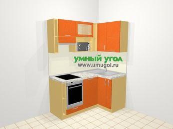 Угловая кухня МДФ металлик в современном стиле 5,0 м², 160 на 100 см, Оранжевый металлик, верхние модули 72 см, посудомоечная машина, верхний модуль под свч, встроенный духовой шкаф
