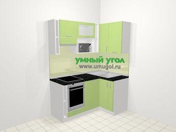 Угловая кухня МДФ металлик в современном стиле 5,0 м², 160 на 100 см, Салатовый металлик, верхние модули 72 см, посудомоечная машина, верхний модуль под свч, встроенный духовой шкаф