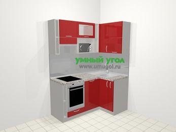 Угловая кухня МДФ глянец в современном стиле 5,0 м², 160 на 100 см, Красный, верхние модули 72 см, посудомоечная машина, верхний модуль под свч, встроенный духовой шкаф