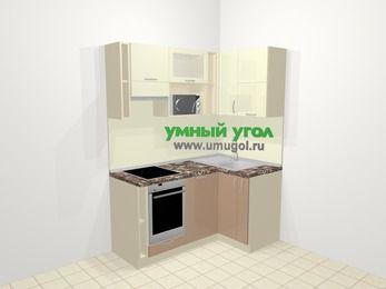 Угловая кухня МДФ глянец в современном стиле 5,0 м², 160 на 100 см, Жасмин / Капучино, верхние модули 72 см, посудомоечная машина, верхний модуль под свч, встроенный духовой шкаф