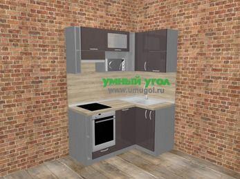 Угловая кухня МДФ глянец в стиле лофт 5,0 м², 160 на 100 см, Шоколад, верхние модули 72 см, посудомоечная машина, верхний модуль под свч, встроенный духовой шкаф