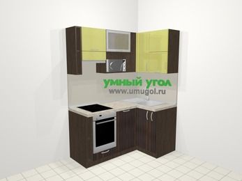 Кухни пластиковые угловые в современном стиле 5,0 м², 160 на 100 см, Желтый Галлион глянец / Дерево Мокка, верхние модули 72 см, посудомоечная машина, верхний модуль под свч, встроенный духовой шкаф