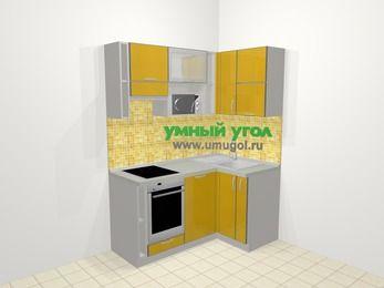 Кухни пластиковые угловые в современном стиле 5,0 м², 160 на 100 см, Желтый глянец, верхние модули 72 см, посудомоечная машина, верхний модуль под свч, встроенный духовой шкаф