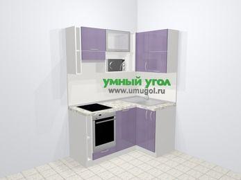 Кухни пластиковые угловые в современном стиле 5,0 м², 160 на 100 см, Сиреневый глянец, верхние модули 72 см, посудомоечная машина, верхний модуль под свч, встроенный духовой шкаф