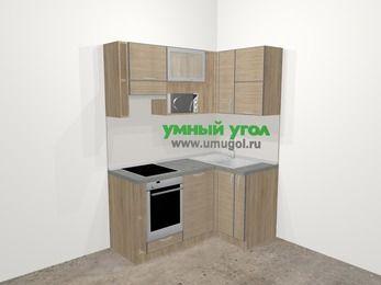 Кухни пластиковые угловые в стиле лофт 5,0 м², 160 на 100 см, Чибли бежевый, верхние модули 72 см, посудомоечная машина, верхний модуль под свч, встроенный духовой шкаф