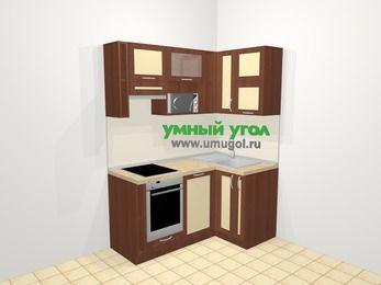Угловая кухня из рамочного МДФ 5,0 м², 160 на 100 см, Вишня темная / Крем, верхние модули 72 см, посудомоечная машина, верхний модуль под свч, встроенный духовой шкаф