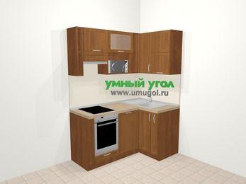 Угловая кухня из рамочного МДФ 5,0 м², 160 на 100 см, Орех, верхние модули 72 см, посудомоечная машина, верхний модуль под свч, встроенный духовой шкаф