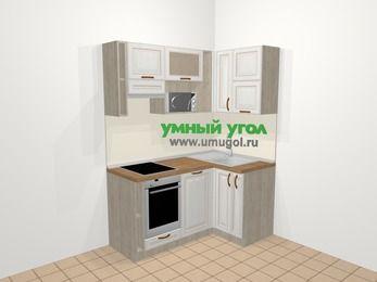 Угловая кухня МДФ патина в классическом стиле 5,0 м², 160 на 100 см, Лиственница белая, верхние модули 72 см, посудомоечная машина, верхний модуль под свч, встроенный духовой шкаф