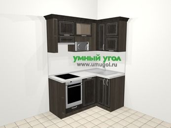 Угловая кухня МДФ патина в классическом стиле 5,0 м², 160 на 100 см, Венге, верхние модули 72 см, посудомоечная машина, верхний модуль под свч, встроенный духовой шкаф