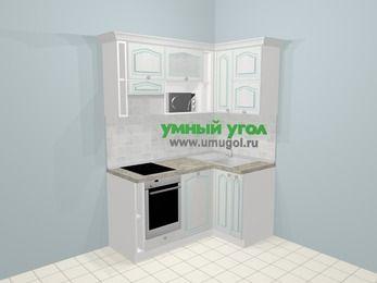 Угловая кухня МДФ патина в стиле прованс 5,0 м², 160 на 100 см, Лиственница белая, верхние модули 72 см, посудомоечная машина, верхний модуль под свч, встроенный духовой шкаф