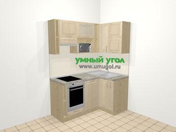 Угловая кухня из массива дерева в классическом стиле 5,0 м², 160 на 100 см, Светло-коричневые оттенки, верхние модули 72 см, посудомоечная машина, верхний модуль под свч, встроенный духовой шкаф