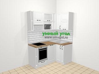 Угловая кухня из массива дерева в скандинавском стиле 5,0 м², 160 на 100 см, Белые оттенки, верхние модули 72 см, посудомоечная машина, верхний модуль под свч, встроенный духовой шкаф