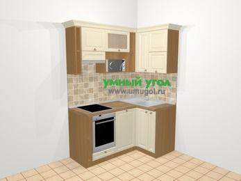 Угловая кухня из массива дерева в стиле кантри 5,0 м², 160 на 100 см, Бежевые оттенки, верхние модули 72 см, посудомоечная машина, верхний модуль под свч, встроенный духовой шкаф