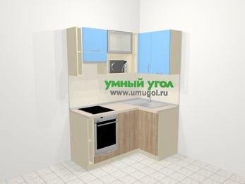 Угловая кухня из ЛДСП EGGER 5,0 м², 160 на 100 см, Голубой / Дуб, верхние модули 72 см, посудомоечная машина, верхний модуль под свч, встроенный духовой шкаф
