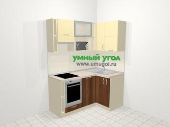 Угловая кухня из ЛДСП EGGER 5,0 м², 160 на 100 см, Ваниль / Орех, верхние модули 72 см, посудомоечная машина, верхний модуль под свч, встроенный духовой шкаф