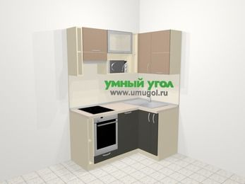 Угловая кухня из ЛДСП EGGER 5,0 м², 160 на 100 см, Бежевый / Трюфель, верхние модули 72 см, посудомоечная машина, верхний модуль под свч, встроенный духовой шкаф