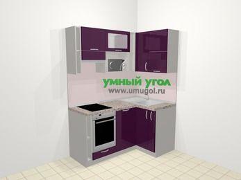 Угловая кухня МДФ глянец в современном стиле 5,0 м², 160 на 100 см, Баклажан, верхние модули 72 см, посудомоечная машина, верхний модуль под свч, встроенный духовой шкаф