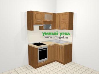 Угловая кухня МДФ патина в классическом стиле 5,0 м², 160 на 100 см, Ольха, верхние модули 72 см, посудомоечная машина, верхний модуль под свч, встроенный духовой шкаф