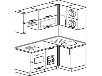 Угловая кухня 5,0 м² (1,6✕1,0 м), верхние модули 72 см, посудомоечная машина, встроенный духовой шкаф