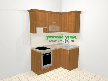 Угловая кухня МДФ матовый в классическом стиле 5,0 м², 160 на 100 см, Вишня, верхние модули 72 см, посудомоечная машина, встроенный духовой шкаф