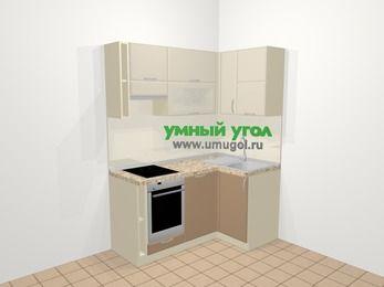 Угловая кухня МДФ матовый в современном стиле 5,0 м², 160 на 100 см, Керамик / Кофе, верхние модули 72 см, посудомоечная машина, встроенный духовой шкаф