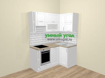 Угловая кухня МДФ матовый  в скандинавском стиле 5,0 м², 160 на 100 см, Белый, верхние модули 72 см, посудомоечная машина, встроенный духовой шкаф