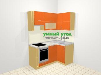 Угловая кухня МДФ металлик в современном стиле 5,0 м², 160 на 100 см, Оранжевый металлик, верхние модули 72 см, посудомоечная машина, встроенный духовой шкаф