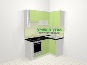 Угловая кухня МДФ металлик в современном стиле 5,0 м², 160 на 100 см, Салатовый металлик, верхние модули 72 см, посудомоечная машина, встроенный духовой шкаф