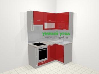 Угловая кухня МДФ глянец в современном стиле 5,0 м², 160 на 100 см, Красный, верхние модули 72 см, посудомоечная машина, встроенный духовой шкаф