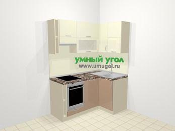 Угловая кухня МДФ глянец в современном стиле 5,0 м², 160 на 100 см, Жасмин / Капучино, верхние модули 72 см, посудомоечная машина, встроенный духовой шкаф