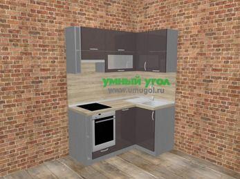 Угловая кухня МДФ глянец в стиле лофт 5,0 м², 160 на 100 см, Шоколад, верхние модули 72 см, посудомоечная машина, встроенный духовой шкаф