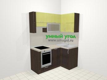 Кухни пластиковые угловые в современном стиле 5,0 м², 160 на 100 см, Желтый Галлион глянец / Дерево Мокка, верхние модули 72 см, посудомоечная машина, встроенный духовой шкаф
