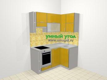 Кухни пластиковые угловые в современном стиле 5,0 м², 160 на 100 см, Желтый глянец, верхние модули 72 см, посудомоечная машина, встроенный духовой шкаф