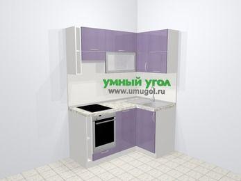Кухни пластиковые угловые в современном стиле 5,0 м², 160 на 100 см, Сиреневый глянец, верхние модули 72 см, посудомоечная машина, встроенный духовой шкаф