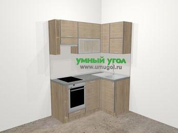 Кухни пластиковые угловые в стиле лофт 5,0 м², 160 на 100 см, Чибли бежевый, верхние модули 72 см, посудомоечная машина, встроенный духовой шкаф