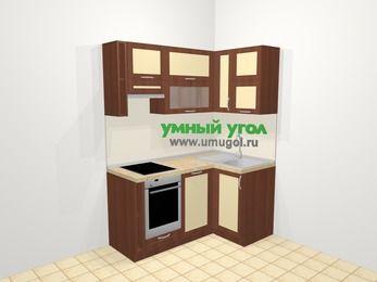 Угловая кухня из рамочного МДФ 5,0 м², 160 на 100 см, Вишня темная / Крем, верхние модули 72 см, посудомоечная машина, встроенный духовой шкаф