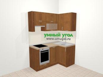 Угловая кухня из рамочного МДФ 5,0 м², 160 на 100 см, Орех, верхние модули 72 см, посудомоечная машина, встроенный духовой шкаф