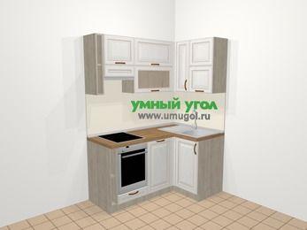 Угловая кухня МДФ патина в классическом стиле 5,0 м², 160 на 100 см, Лиственница белая, верхние модули 72 см, посудомоечная машина, встроенный духовой шкаф