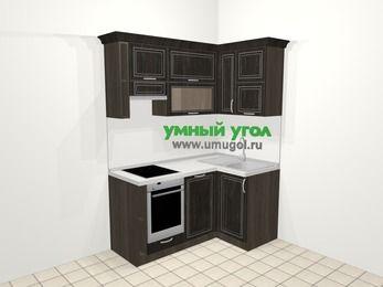 Угловая кухня МДФ патина в классическом стиле 5,0 м², 160 на 100 см, Венге, верхние модули 72 см, посудомоечная машина, встроенный духовой шкаф