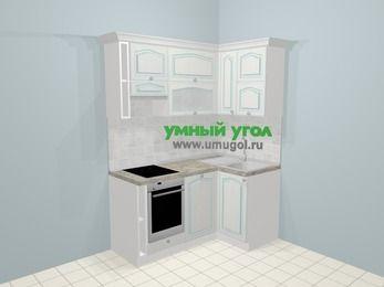 Угловая кухня МДФ патина в стиле прованс 5,0 м², 160 на 100 см, Лиственница белая, верхние модули 72 см, посудомоечная машина, встроенный духовой шкаф