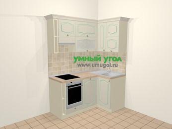 Угловая кухня МДФ патина в стиле прованс 5,0 м², 160 на 100 см, Керамик, верхние модули 72 см, посудомоечная машина, встроенный духовой шкаф