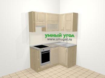 Угловая кухня из массива дерева в классическом стиле 5,0 м², 160 на 100 см, Светло-коричневые оттенки, верхние модули 72 см, посудомоечная машина, встроенный духовой шкаф