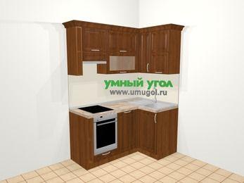 Угловая кухня из массива дерева в классическом стиле 5,0 м², 160 на 100 см, Темно-коричневые оттенки, верхние модули 72 см, посудомоечная машина, встроенный духовой шкаф