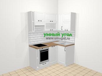 Угловая кухня из массива дерева в скандинавском стиле 5,0 м², 160 на 100 см, Белые оттенки, верхние модули 72 см, посудомоечная машина, встроенный духовой шкаф