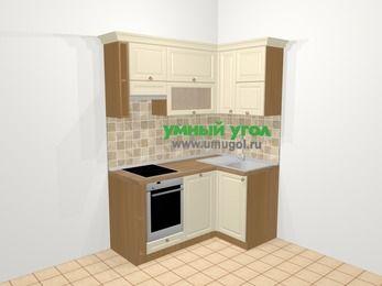 Угловая кухня из массива дерева в стиле кантри 5,0 м², 160 на 100 см, Бежевые оттенки, верхние модули 72 см, посудомоечная машина, встроенный духовой шкаф