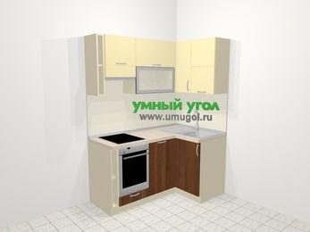 Угловая кухня из ЛДСП EGGER 5,0 м², 160 на 100 см, Ваниль / Орех, верхние модули 72 см, посудомоечная машина, встроенный духовой шкаф