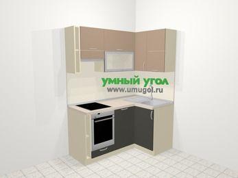 Угловая кухня из ЛДСП EGGER 5,0 м², 160 на 100 см, Бежевый / Трюфель, верхние модули 72 см, посудомоечная машина, встроенный духовой шкаф