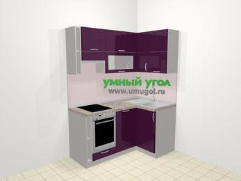 Угловая кухня МДФ глянец в современном стиле 5,0 м², 160 на 100 см, Баклажан, верхние модули 72 см, посудомоечная машина, встроенный духовой шкаф