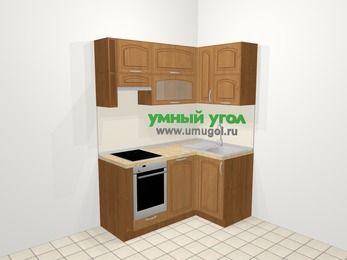Угловая кухня МДФ патина в классическом стиле 5,0 м², 160 на 100 см, Ольха, верхние модули 72 см, посудомоечная машина, встроенный духовой шкаф