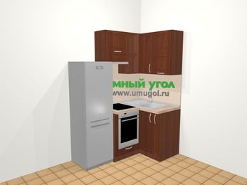 Угловая кухня МДФ матовый в классическом стиле 5,0 м², 160 на 100 см, Вишня темная, верхние модули 72 см, встроенный духовой шкаф, холодильник